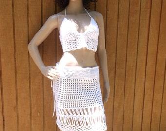 Crochet Short Skirt and Halter Top, Shell Stitch Halter Top, Swim Suite Cover up, Crochet Skirt, Mini Skirt, Choose Your Color
