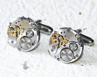 ZENITH Men Steampunk Cufflinks - HIGH END Luxury Swiss Silver Vintage Watch Movement Men Steampunk Cufflinks Cuff Links Fathers Day Gift