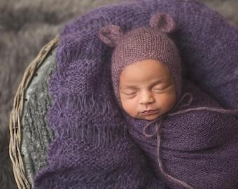 Purple mohair bear bonnet for newborn, photo prop