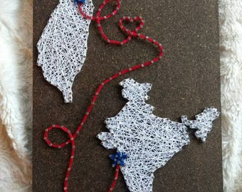 CUSTOM Two Locations Connected String Art, Countries States Places Thread Art, Star Heart Wood Plaque, Wall Art, String and Nails Home Decor