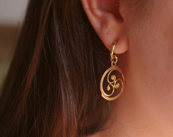14K Spiral Disk Earrings