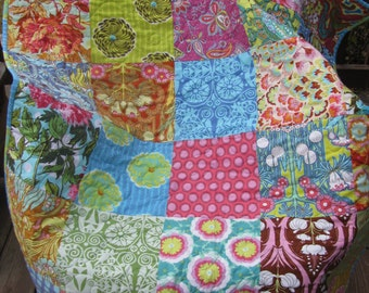 Amy Butler Soul Blossoms patchwork lap, teen or baby quilt handmade by fabricdesigns 40 in x 47 in
