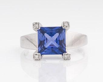 Simulated Purple Blue Sapphire & Diamond Vintage Ring, VJ #619
