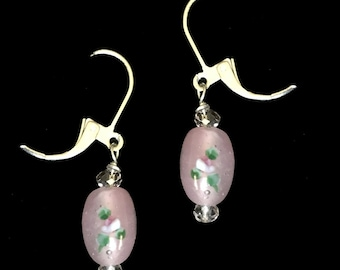 Pink Floral Delicate Lampwork Earrings with Swarovski Crystals