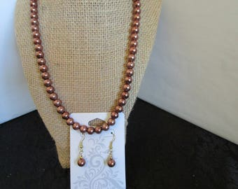 Brown Pearl Necklace & Earrings Set