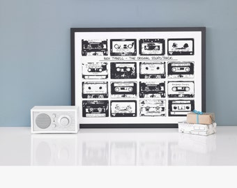 Cassette Playlist Print. Mix tape. Our Songs.  Retro cassette design print, Personalised memories custom 16 gift for him her birthday stag