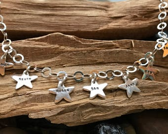 Charm Necklace - Personalized Stars- Kids Names - Nana / Mothers Necklace -Hand-Stamped -Sterling Silver - Wife Gift, Birthday, Mothers Day