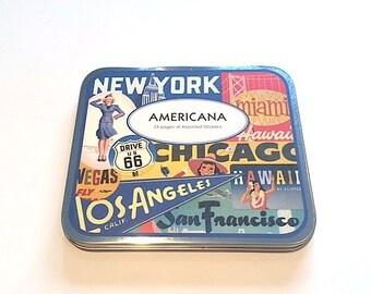 Decorative Sticker set  AMERICANA in metal box srcapbooking packaging vintage stickers