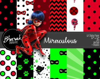 Digital paper Miraculous-digital paper from Miraculous-invitations-Bday's-Scrapbook-Includes gift-+ gifts!