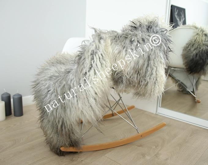 Genuine Rare Gotland Sheepskin Rug - Curly Fur Rug - Natural Sheepskin - Gray Ivory Sheepskin #FEBGOT18