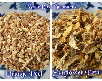 ORGANIC Sunflower Petals 1oz ~ ORGANIC Orange Peel 1 oz ~ Dry Flower Petals ~ Dry Spice