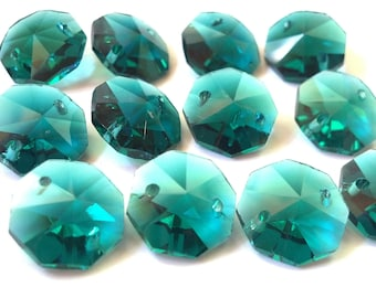 12 Caribbean Green 14mm Octagon Chandelier Crystal Beads Teal