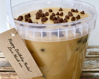Edible Cookie Dough Bucket - Raw Safe to Eat Cookie Dough - Chocolate chip - Caramel - White Chocolate - Unusual Gift - Sweet Treat - Bake