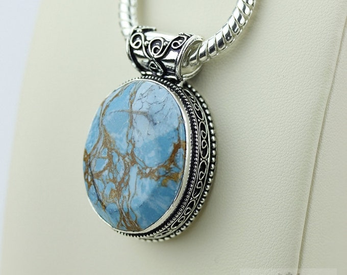 Faceted Pyrite Turquoise Vintage Filigree Setting 925 S0LID Sterling Silver Pendant + 4mm Snake Chain p2613