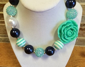 Bubblegum Necklace, Mint, Navy Blue, White, Rose, Chunky Bubblegum Necklace, Chunky Beads, Girls Necklace, Gumball Necklace, Photo Prop
