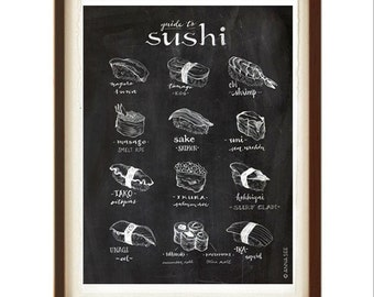 Sushi Guide Illustration, Sushi Lovers Gift, Chalkboard Art, Illustration Art Print, Home Decor, Foodie, Poster, Japanese Food, Gift Idea