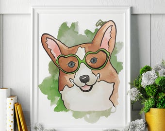 Corgi - Watercolor Painting - Corgi Art - Corgi Painting - Corgi Print - Animal Watercolor Print