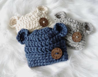 PICK YOUR COLOR - Baby Bear Crochet Hat, Baby Boy Hat, Baby Girl Hat, Baby Bear Hat, Crochet Baby Bear Hat, Crochet Baby Hat