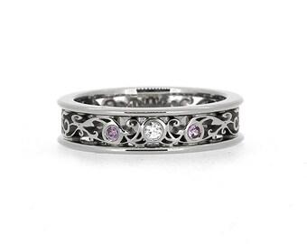 Diamond and lavender sapphire filigree engagement ring, white gold, filigree wedding ring, diamond engagement, purple sapphire wedding