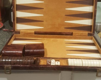 Vintage Backgammon Game - Leather Buckled Brown Briefcase- see description.