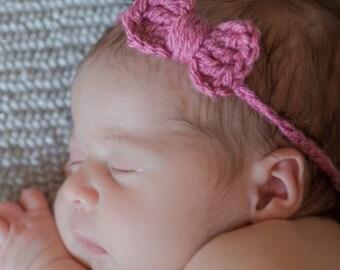 Newborn Headband | Baby Headband with Bow |  Crochet Headband | Newborn Headband Bow | Ready to Ship Headband | Newborn Girls Headband Bow