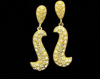 Vintage Rhinestone Earrings Chandelier Dangle Drop