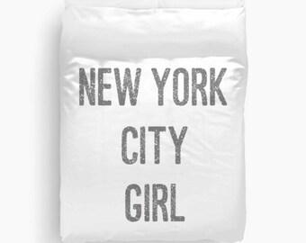 Duvet Cover - New York City Girl - New York City Decor - Girls Bedding - Dorm Decor - Teen Room Decor - Girls Bedroom Ideas - Teen Duvet