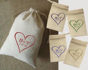 Wedding Favor Bags, Set of 10, Fabric Bag, 5x7, Personalized, Wedding Treat Bag, Personalized, Candy Sack, Drawstring Bag, Cloth Bag