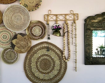vintage large round woven wall trivet boho decor