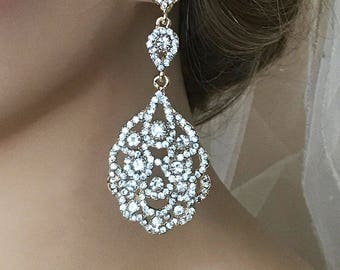 Bridal earrings, Wedding earrings, Bridal jewelry, Wedding jewelry, crystal chandelier evening earrings,Prom earrings, Silver, Gold earrings