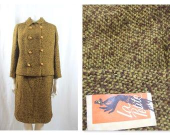 Classic 60's Wool Tweed Skirt Suit