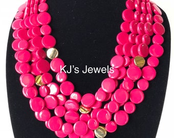 Multi-Strand Coin Necklace with Gold Accent Beads