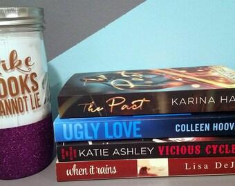 """Glittered Mason Jar - """"I like big books and I cannot lie"""""""
