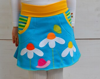 Spring flowers,girl butterfly, snail and daisies skirt,appliqué skirt,kids spring,spring fashion,girl toddler,turquoise jersey