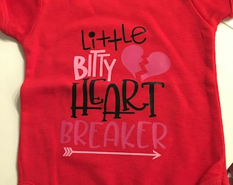 Valentines bodysuit, baby Valentine outfit, Little bitty heart breaker