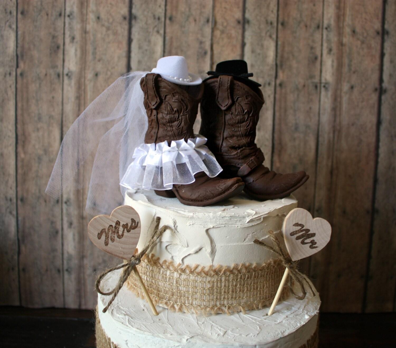Western cowboy boots wedding cake topper-western