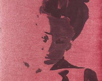 Portrait - modern, decorative art, figurative painting, girl in pink