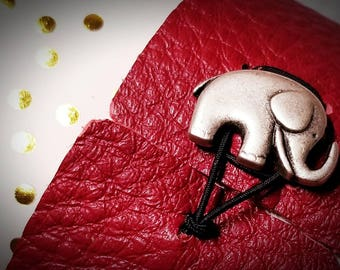 Good luck elephant leather cuff bracelet- Alabama - scarlet red leather - Italian button closure