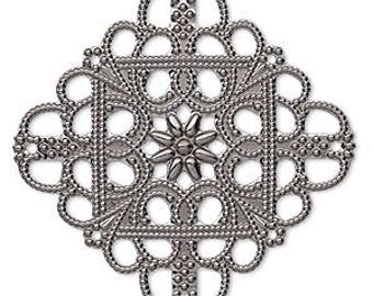 Filigree Link, Gunmetal,  Square Filigree Focal, Single Sided, 35x35mm, 4 each, D318