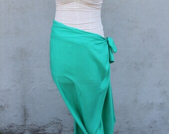 LIGHT AQUA TEAL-Pareo-solid color Full and -Half sized-rayon- sarong, lavalava, pareau, fringeless pareo, Tahitian dance costume skirt