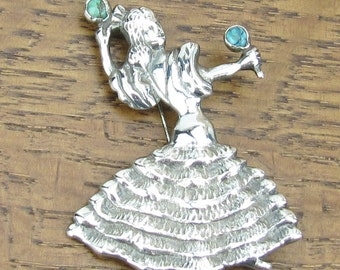 Vintage Sterling Turquoise brooch maracas Dancing Women hand made in Mexico silver jewelry 925