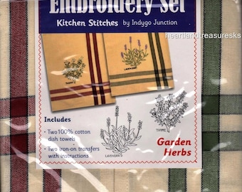 Garden Herbs Dish Towel Embroidery Set 2 Towels + 2 Transfer Pattern Kit