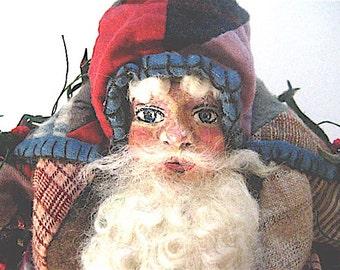 "Santa-OOAK Primitive Folk Art Santa ""AMERICAN SANTA"" Original Design from Vintage Quilt w/Handmade Doll & Hobby Horse"