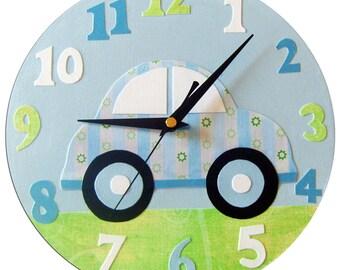 Car Clock / Children's Wall Clock / Boys Nursery Decor