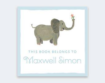 Kid's Bookplate Sticker - Elephant Bookplates, Baby Shower Bookplate, Children's Bookplate, Personalized Bookplate, Elephant Bring a Book