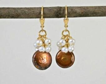 Chocolate Pearl Earrings. Brown Earrings, Pearl Earrings, Dangling Earrings, Mother's Day, Brown and White Earrings, Dressy Jewelry