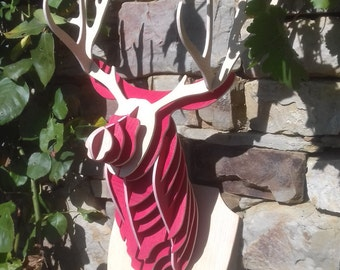 wooden deer head