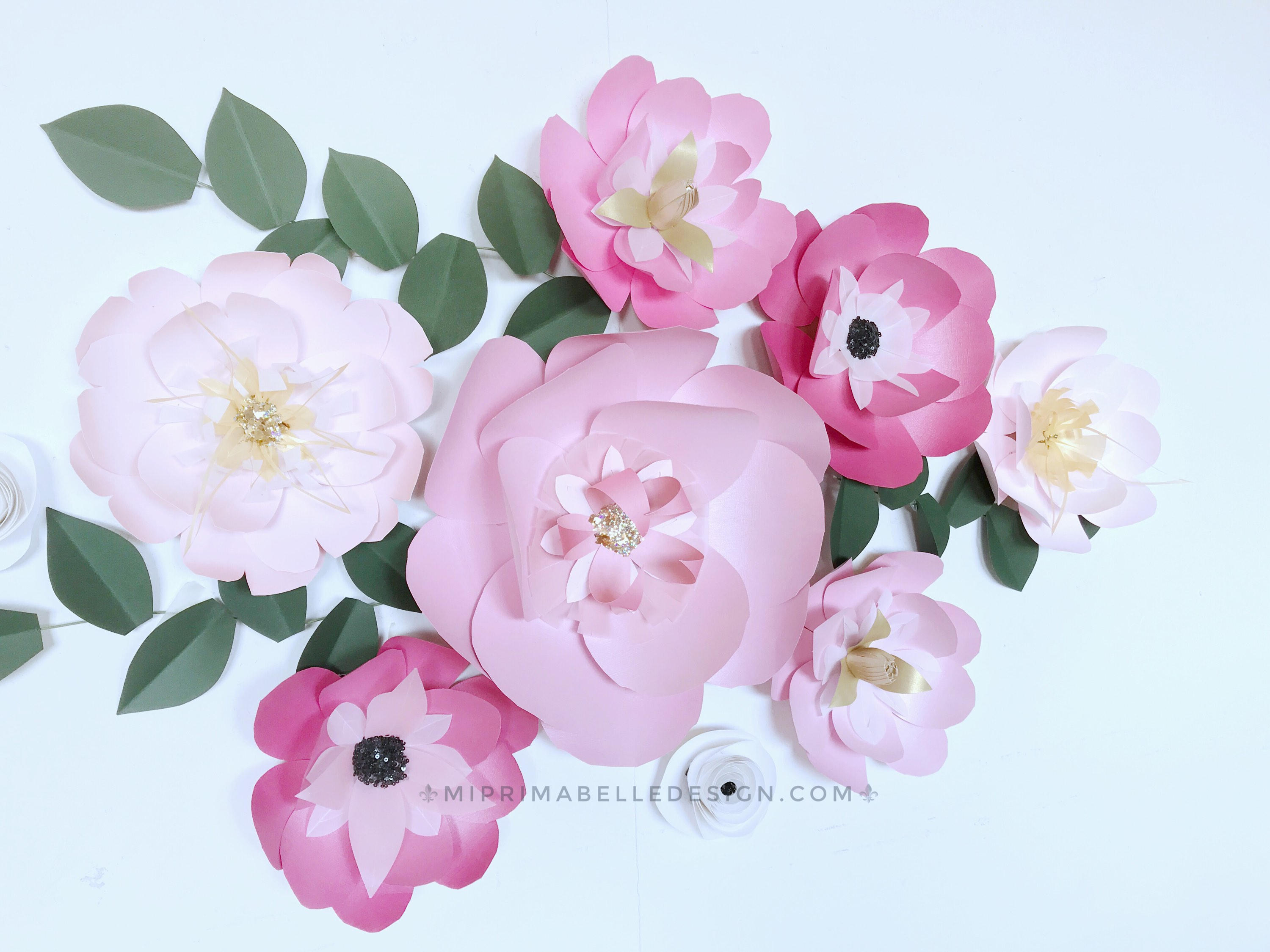 Paper flowers pink wall decor giant flowers wall backdrop bright paper flowers pink wall decor giant flowers wall backdrop bright pink nursery girl bedroom light pink decor paper flowers wall hanging pink mightylinksfo