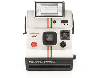 Polaroid Supercolor 1000 White Rainbow SX70 with Polaroid 2351 Q-Light Flash - Film Tested Guaranteed Working Rare