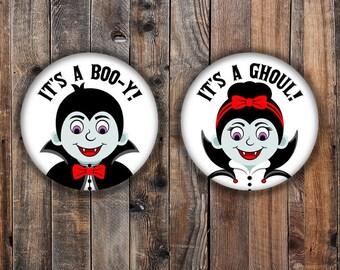 Boo-y or Ghoul halloween theme dracula gender reveal pins.